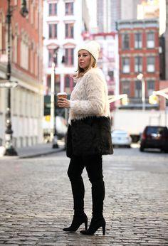 fur coat with skinny pants
