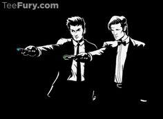 Gallifreyan, motherf*cker, do you speak it! The latest design from TeeFury features David Tennant and Matt Smith in Doctor Who/Pulp Fiction poses. Does not feature a Time Lord version of the gimp. Pulp Fiction, Science Fiction, Fiction Film, Rose Tyler, David Tennant, Dr Who, Virginia Woolf, Sherlock, Detective
