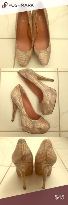 Vince Camuto Powder Snakeskin Pumps Wore out once and they were too big! Perfect condition guaranteed! Silver, nude, and powder pink tones in snakeskin. Vince Camuto Shoes Heels