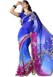 Violet Indigo coloured embroidered saree for women by Ashika. Made from chiffon, this saree measures 5.5 m in length, and comes with unstitched blouse piece of 0.8 m.