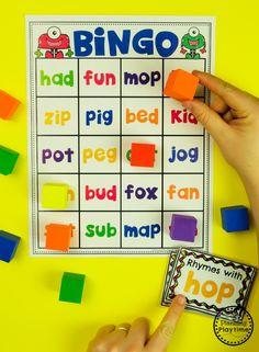 Rhyming Words Activities - Rhyming Words Bingo #planningplaytime #rhymingwords #kindergartenworksheets #rhymingworksheets #literacyworksheets Rhyming Words For Kids, Rhyming Word Game, Rhyming Worksheet, Word Bingo, Literacy Worksheets, Rhyming Activities, Cvc Words, Word Games, Literacy Centers