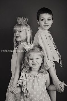 Child/siblings portrait-Little Bells Photography-Bloomington, IL  *Lace crowns, black and white photography, 3 sibling pose