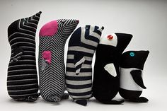 A whole family of sock animal moles.  Blog - Tracy Watson Art