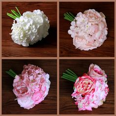 Peony Hydrangeas Posy Roses Silk Flower Bridal Bridesmaid Bouquet Wedding Decor #Unbranded