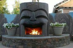 Tiki back yard fireplace