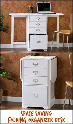 This folding organizer desk is a great space saving solution for the home office, craft room or bedroom! Need one?
