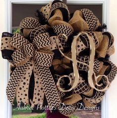 "Everyday Monogrammed Single 12"" Vine Burlap Mesh Wreath With A Large Bow on Etsy, $79.00"