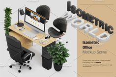 Isometric Office Scene Mock-up by IsometricWorld on @creativemarket