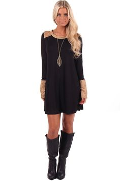 Lime Lush Boutique - Black Tunic Dress or Top with Camel Suede Detail, $39.99 (http://www.limelush.com/black-tunic-dress-or-top-with-camel-suede-detail/)