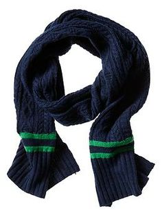 Marled Stripe Cable-Knit Scarf | Banana Republic
