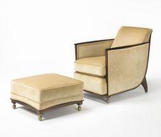 "French Art Deco: ""Cuellar"" armchair and ottoman by Émile-Jacques Ruhlmann,"" ébène de macassar"", bronze and fabric upholstery. Circa 1925."