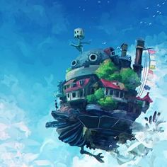 'Howl's Moving Castle' My number 1 favorite ghibli film. 😆 This was a recreation of the flying castle at the end of the film. 👌 Next up is Kiki's Delivery Service. So who wants to live here? Howl's Moving Castle, Studio Ghibli Background, Studio Ghibli Art, Castle In The Sky, Anime Scenery, Live Wallpapers, Concept Art, Digital Art, Howls Moving Castle