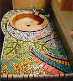 Mosaic vanity counter Love this handmade basin too.