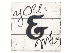Ivory & Black Weathered You & Me Faux Wood Sign