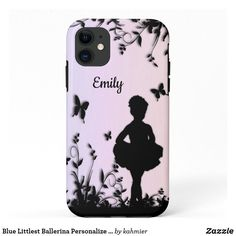 Blue Littlest Ballerina Personalize Name Case-Mate iPhone Case