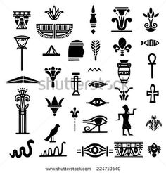 Tribal art Egyptian ethnic icon Egypt sketch cartoon hand drawn black silhouettes isolated on a white background Hieroglyphics Tattoo Logo design