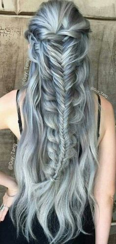 Guy Tang pastel dyed hair                                                                                                                                                      More Hair Inspo, Hair Inspiration, Elven Hairstyles, Pretty Hairstyles, Plaits Hairstyles, Warrior Braid, Princess Braid, Guy Tang Hair, Long Silver Hair
