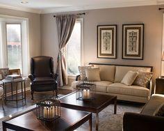 Chocolate Brown and Tan Living Room