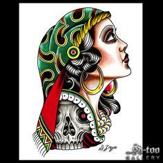 "Gypsy Girl - 16x20"" Ink Jet Giclee Art Print - SD-too Gallery - Dan Pryor - Seven Seas Tattoo Artist Print - http://shop.sd-too.com"