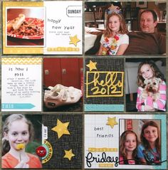 Cute use of Liz's journaling card and Ali's kit.  Also like the picture in the 4x6 slot that is embellished with stars.
