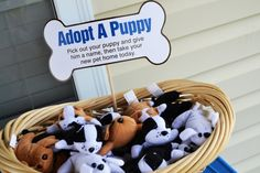 Adopt a puppy (a stuffed puppy) is a cute idea for a dog themed birthday party!