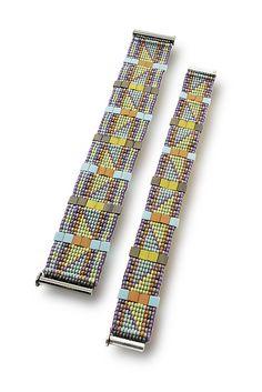 Mesa Trail Woven Cuff by Sheila Fernekes (Beaded Bracelets) | Artful Home Loom Bracelet Patterns, Bead Loom Patterns, Square Patterns, Weaving Patterns, Jewelry Art, Beaded Jewelry, Native American Rugs, Woven Bracelets, Loom Beading