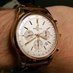 """Breitling Transocean Chronograph RB015212/G738-737P in 18K Rose Gold The Transocean Chronograph reinterprets the pure design of the classic 1950s and 60s chronographs in a resolutely contemporary style. The slender, understated fuselage carries onboard a high-performance """"engine"""" in the shape of Caliber 01, entirely developed and produced in the Breitling workshops. by watchmaxxco from Instagram http://ift.tt/1KlF12v"""