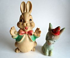 2 Vintage Rubber Toys Rabbit Donkey 1960's by treasurecoveally, $20.00