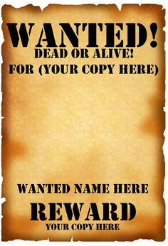 Wanted Poster Template   Party decor   Pinterest   Template and Blog
