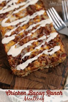 Chicken Bacon Ranch Meatloaf ~ Delicious, Easy, Comfort Food! Loaded with Chicken, Bacon, Cheese and Ranch!