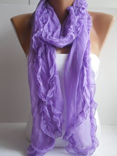 Lilac Curly Shawl/Scarf  Headband Necklace by DIDUCI on Etsy, $13.50