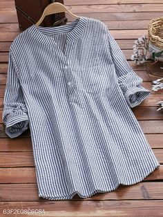 V Neck Loose Fitting Stripes Blouses - Moda daily Short Sleeve Blouse, Long Sleeve Tops, Long Sleeve Shirts, Trendy Tops, Casual Tops, Outfit Chic, Cheap Womens Tops, Blouse Styles, Striped Shorts