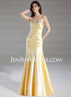 Mermaid Sweetheart Sweep Train Charmeuse Prom Dress With Ruffle Beading Sequins (018004958) - JenJenHouse