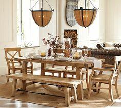Benchwright Table & Aaron Chair Set - Wax Pine finish #potterybarn