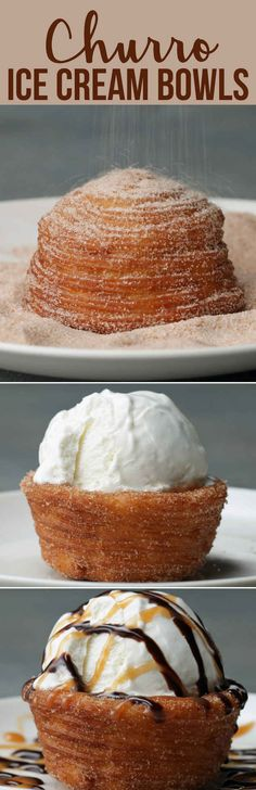"Churro Ice Cream Bowls. OMG! These are dangerous but look so delicious! When I tried to pin this the first two boards that came up were ""dairy free"" and ""sugar free"" ha ha!!!"