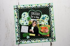 Fall Head Clover Heels With This St. Patrick's Day Layout Scrapbooking Layouts, Scrapbook Pages, Shamrock Shake, Picture Layouts, Creative Memories, Lets Celebrate, Leprechaun, Paper Design, Small Heart