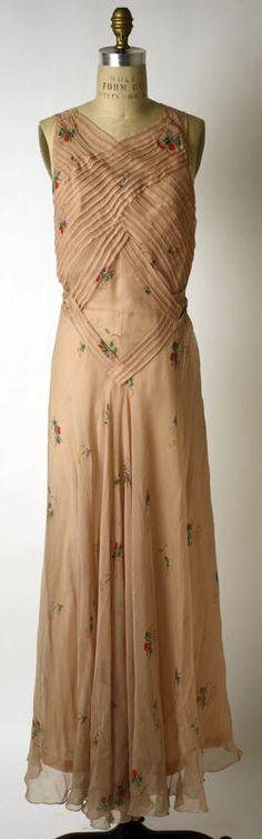 Italian Designer Elsa Schiaparelli Evening Dress - c. 1933–35 French Silk