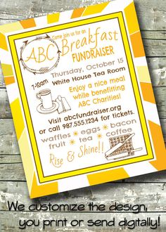 Welcome Breakfast ~ Morning Benefit ~ Meet & Greet ~ 5x7 Invite ~ 8.5x11 Flyer ~ 11x14 Poster ~ 300 dpi Digital Invitation by DitDitDigital on Etsy https://www.etsy.com/listing/245969013/welcome-breakfast-morning-benefit-meet