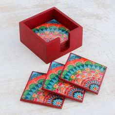 'Home Delicacies' (set of - Six Handcrafted Wood Coasters in Red Wooden Box Crafts, Painted Wooden Boxes, Diy Coasters, Wooden Coasters, Mosaic Crafts, Mosaic Art, Easy Woodworking Projects, Wood Projects, Diy Bottle Opener