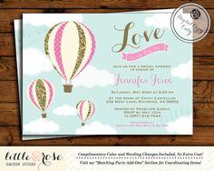 Hot Air Balloon Bridal Shower Invitation - Love is in the Air - Wedding Shower Invite - Bridal Brunch - Birthday Invitation - Printable