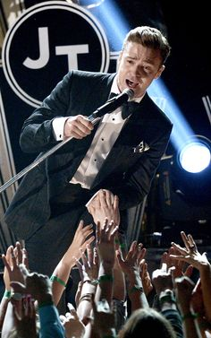 Justin Timberlake performs music from his much anticipated album at the 2013 Grammy Awards.