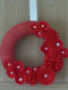 Christmas Wreath - Red Felt Flowers