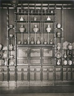 The Peacock Room at Freer's house, Detroit, 1908, now the west wall.  Photograph by George R. Swain.  Charles Lang Freer Papers, Freer Gallery of Art and Arthur M. Sackler Gallery Archives.