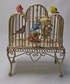 Dolls house Miniature filled Bird Cage The by uniqueminiatures, £36.00
