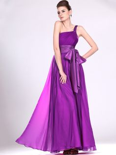 A-line One Shoulder Chiffon Floor-length Sashes / Ribbons Evening Dresses at pickedlooks.com