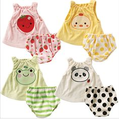 2016 Summer Baby Clothes Set Cartoon Panda Frog Chicken Strawberry Animals Printed 100% Cotton Cute  Vest +Underwear  Pant-in Dresses from Mother & Kids on Aliexpress.com | Alibaba Group