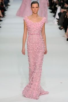 #27 in the 50 Shades of Pink is designed by Lebanese designer Elie Saab, perhaps most famous for designing Halle Berry's red-skirted Oscar dress (with the sheer top with appliqued flowers.)  Pretty, right?