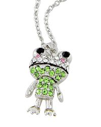 """18"""" + EXT Rhodiumized W/ Clear & Green Rhinestone Frog Necklace Retail - $14.95 You Pay - $7.48 w/ free shipping in the US."""