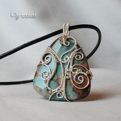 Wire wrapped Lace Jasper stone pendant decorated with by Artual