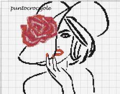 Lady with hat x-stitch pattern Cross Stitch Pattern Maker, Cross Stitch Art, Cross Stitch Alphabet, Cross Stitch Designs, Cross Stitching, Cross Stitch Embroidery, Hand Embroidery, Cross Stitch Patterns, Cross Stitch Silhouette